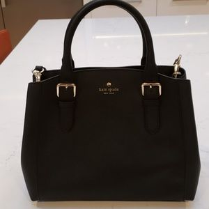 Kate Spade Black Leather Medium Tote Handbag